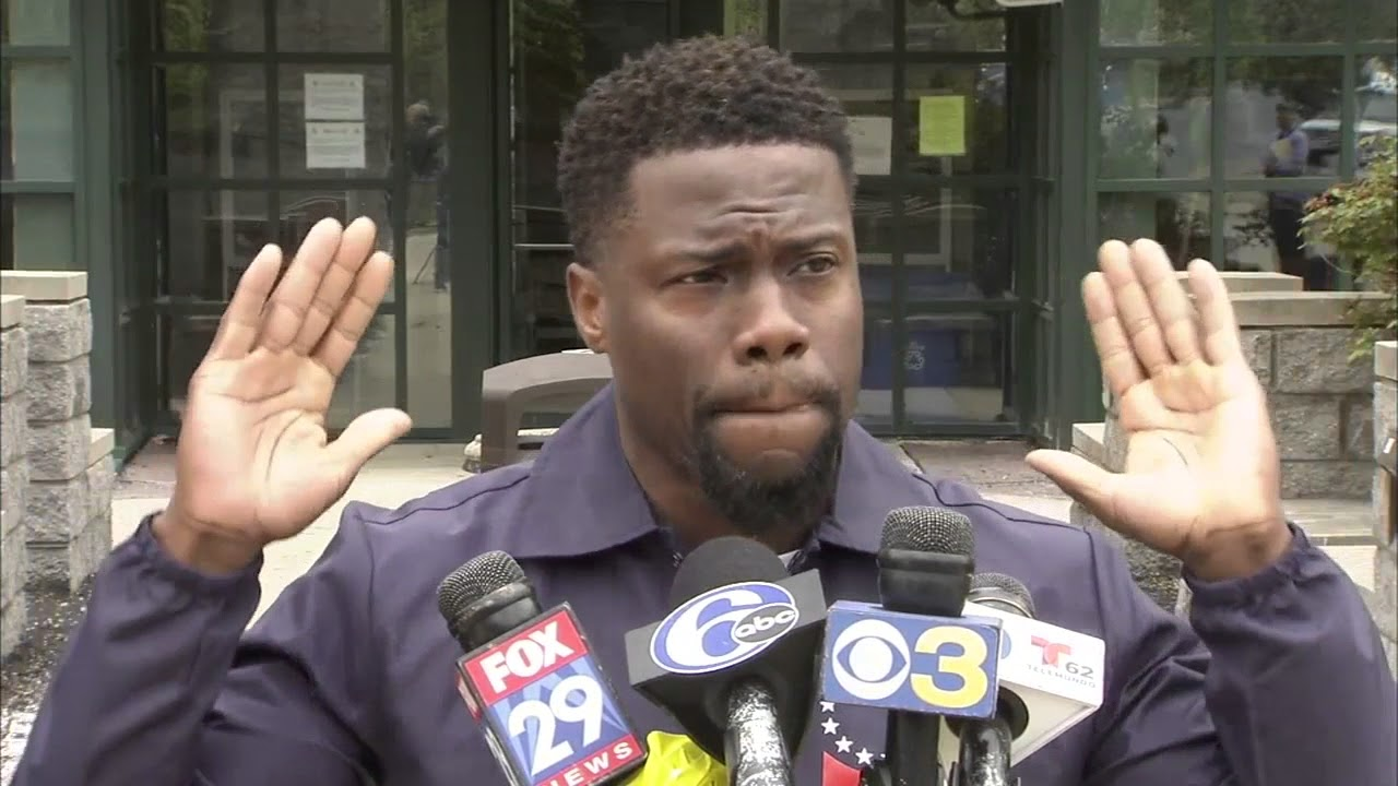 Kevin Hart speaks to media after visiting Meek Mill