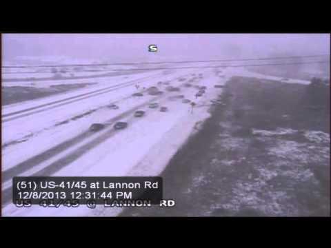 WisDOT video shows multi vehicle pileup on Hwy  41/45 near Lannon Rd