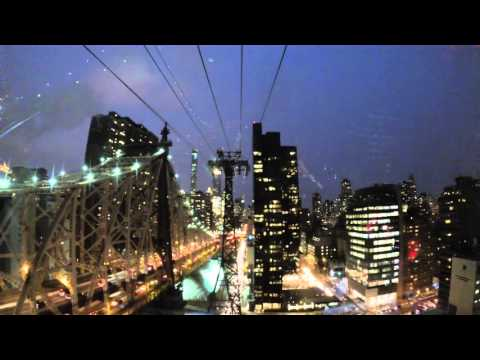 The Roosevelt Island tramway to New York City at night