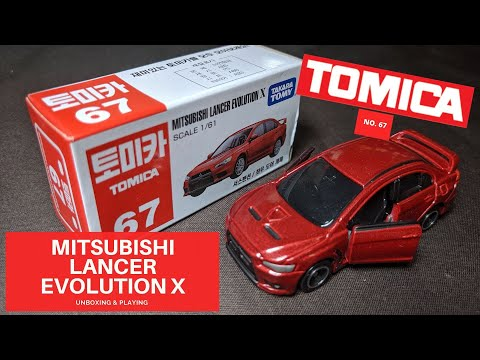 TAKARA TOMY TOMICA MODEL NO. 67 MITSUBISHI LANCER EVOLUTION X SCALE 1/61 REVIEW & PLAY CAR TOY