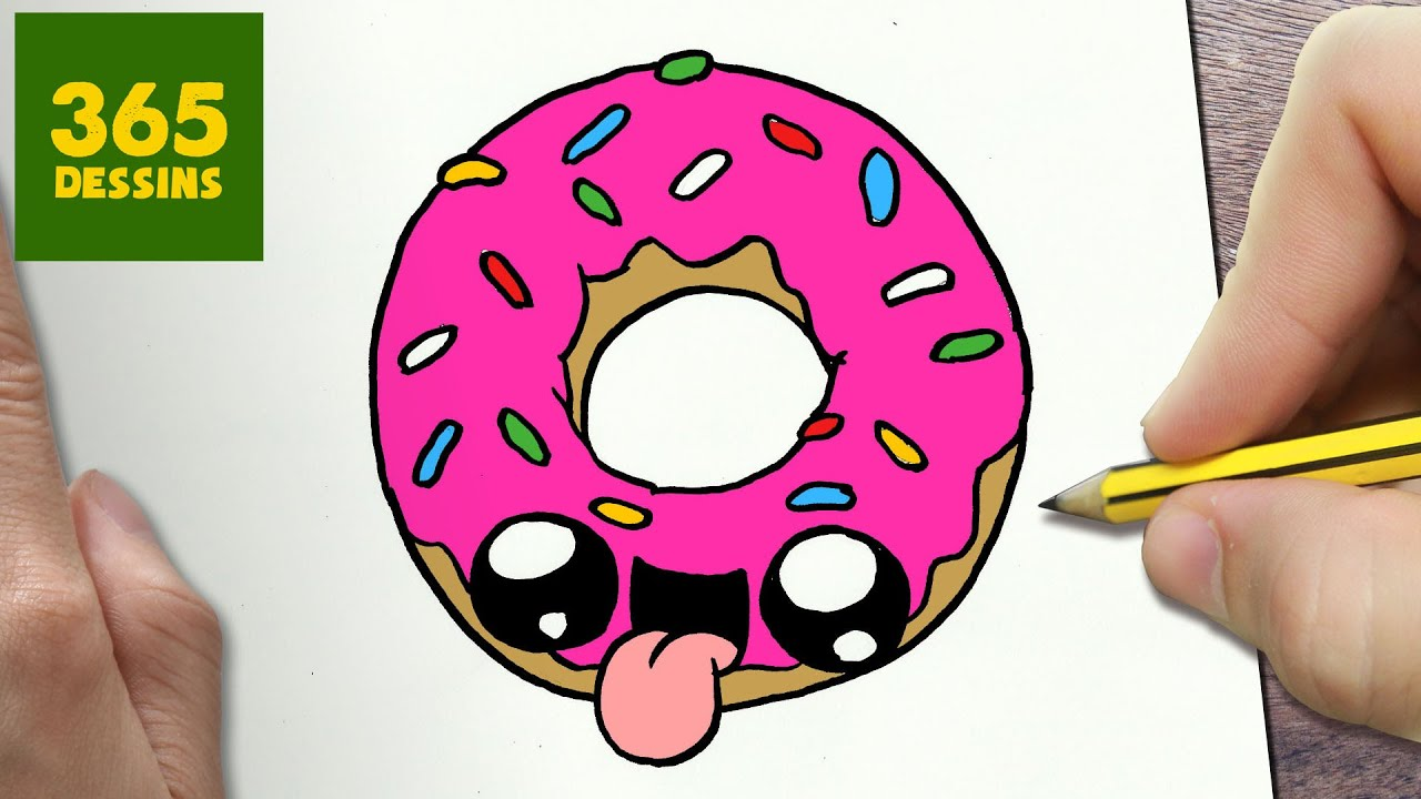 COMMENT DESSINER DONUT KAWAII ÉTAPE PAR ÉTAPE \u2013 Dessins kawaii facile