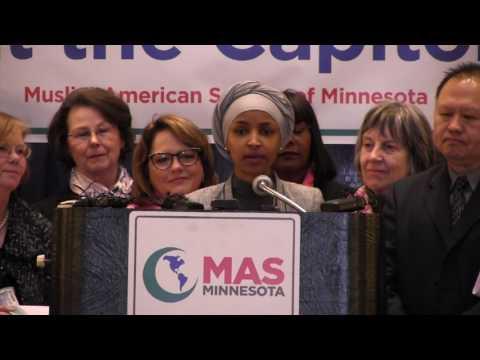 Rep. Ilhan Omar speaks at the Muslim American Society Rally