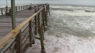 Flagler Beach Pier, rebuilt A1A weather Tropical Storm Isaias with little damage