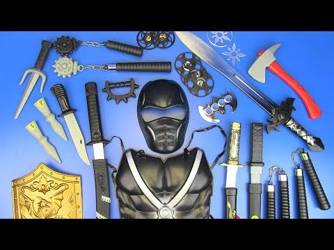Toy NINJA Weapons Toys For Kids ! Ninja Guns & Equipment- Shuriken,Nunchucks,Swords..Box Of Toys