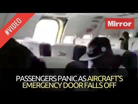 PASSENGERS PANIC AS AIRCRAFT'S EMERGENCY DOOR FALLS OFF