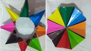 Easy paper craft paper star/ flower/wheel for kids , origami, no scissors no glue, कागज़ का फूल.
