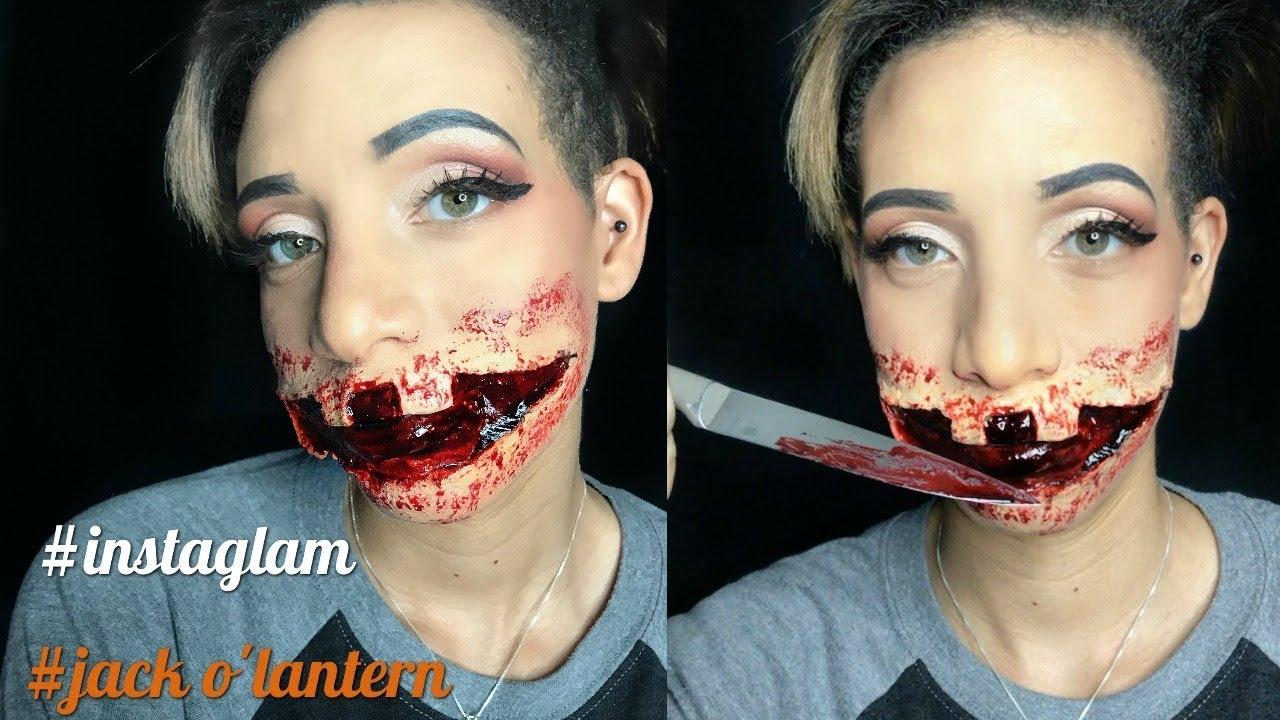 HALLOWEEN MAKEUP BLOODY: JACK O LANTERN - YouTube