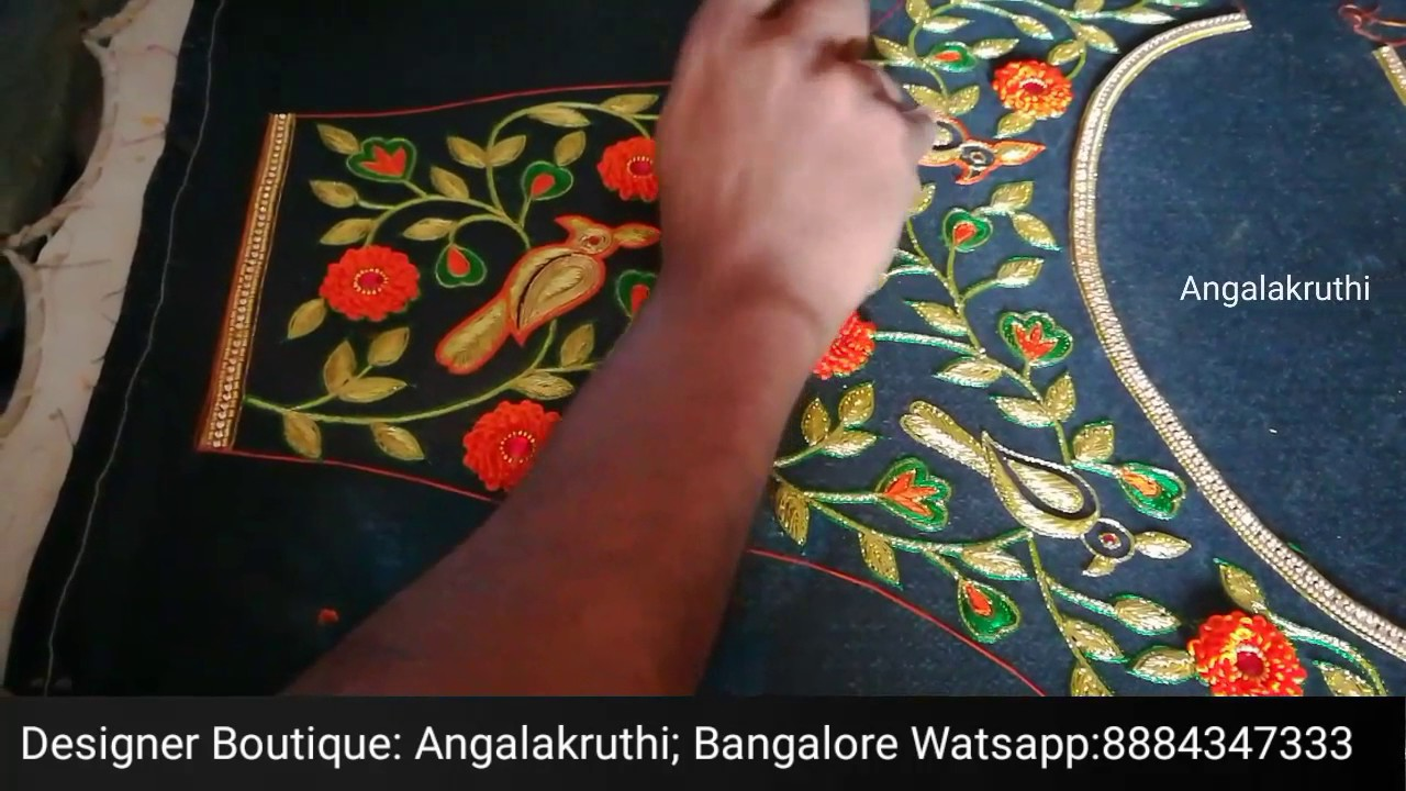 46048f9bd Parrot Embroidery designs on dresses by Angalakruthi boutique ...