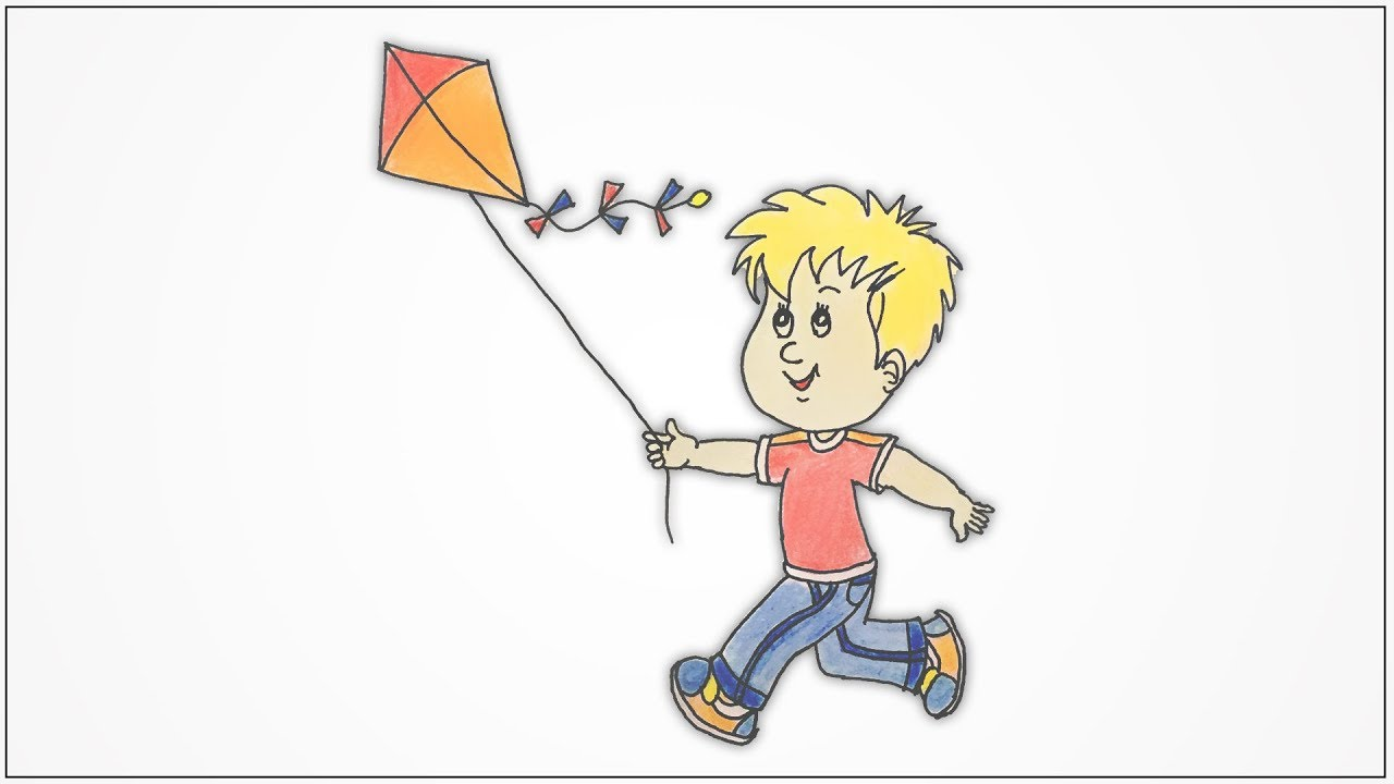 How to draw a boy running and flying kite step by step ...