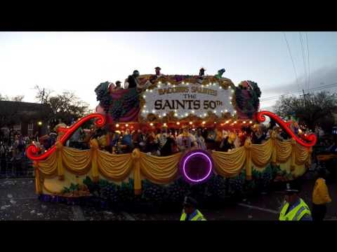 Krewe of Bacchus Mardi Gras 2017 Parade, Uptown at the Bacchus Bus Stop in New Orleans Louisiana