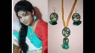 DIY kalamkari fabric jewellery set making new design handmade handcraft