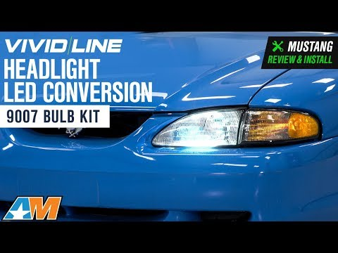 1994 2004 Mustang Vividline Headlight Led Conversion Bulb Kit 9007 Review Install Youtube