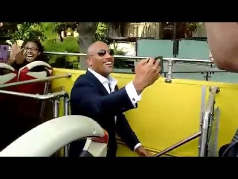 Dwayne Johnson bus ride to CENTRAL INTELLIGENCE world premiere - June 10, 2016