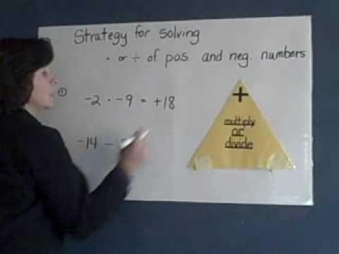 Multiplying And Dividing Integers Using Triangle Youtube