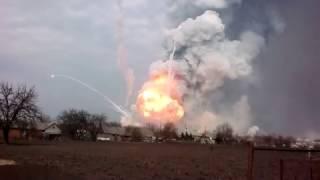 Мощный взрыв на военных складах в Балаклее / HD, 23.03.2017