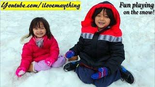 Fun Family Adventures: Hulyan and Maya's Winter Snow Playtime! Snow Sleds, Snow Man, Etc...