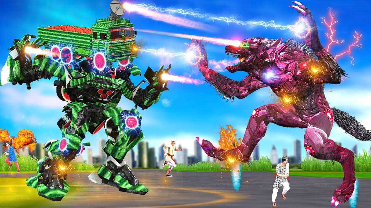 सुपर ट्रक तरबूज रोबोट भेड़िया हिंदी कहानियां Super Truck Watermelon Robot Wolf Hindi kahaniya