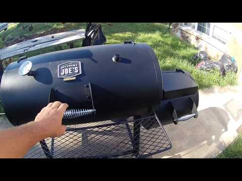 oklahoma joes smoker unboxing review and cook