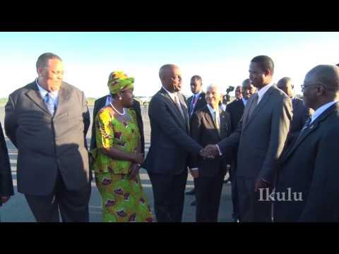 RAIS DKT   MAGUFULI AMPOKEA RAIS WA ZAMBIA MHE  EDGAR LUNGU, NOV 27,2016