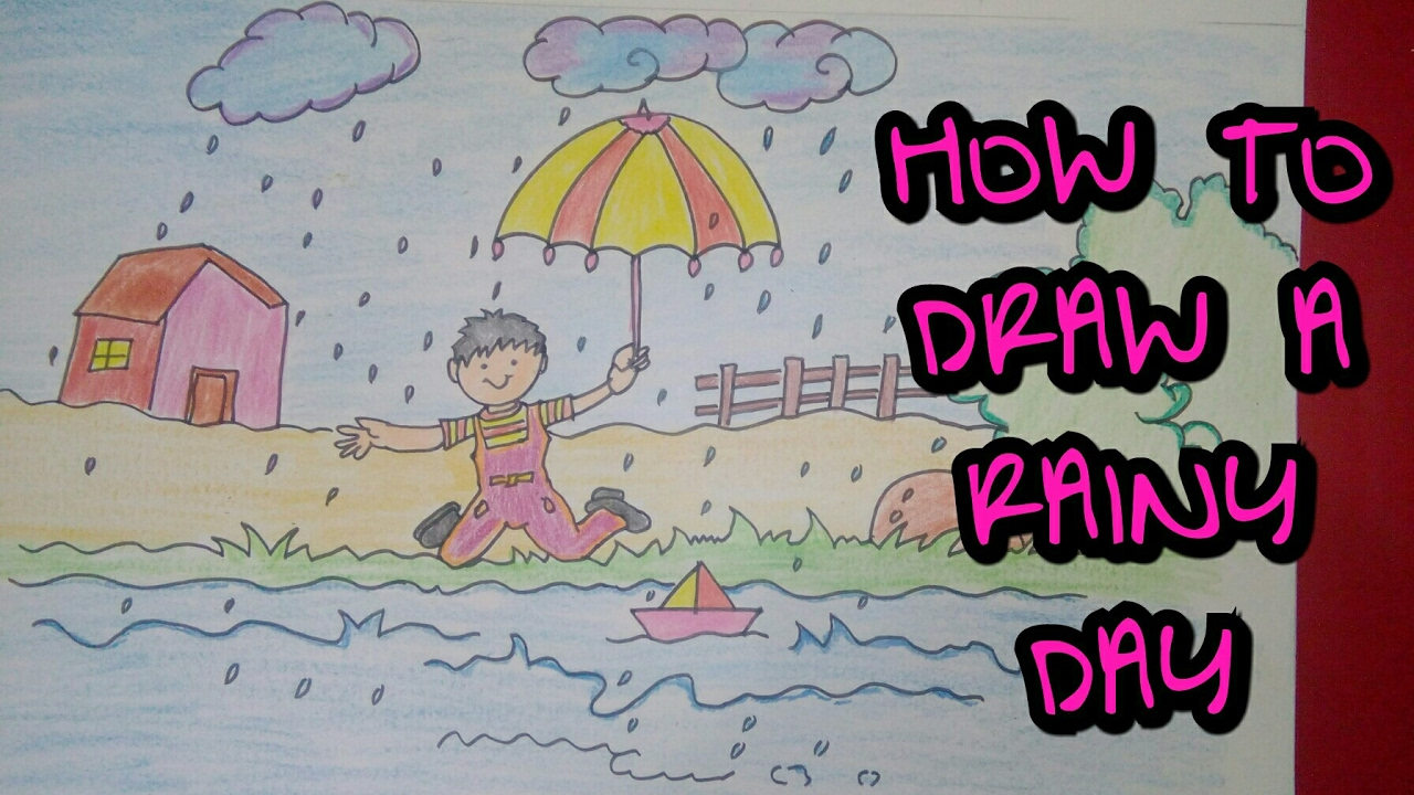 Drawing tutorial : drawing of rainy day || rainy season ... Rainy Day Drawing Competition