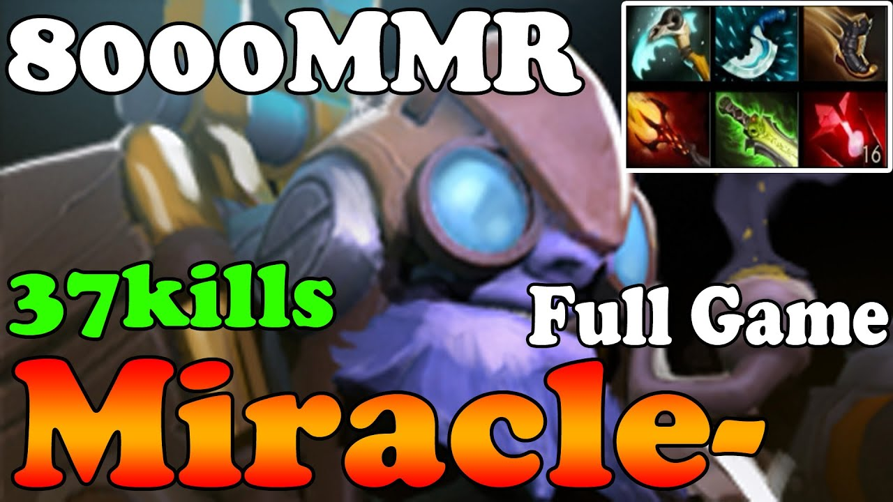 dota 2 miracle 8000mmr plays tinker 37kills full game