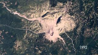 Mount St  Helens  Time Lapse From Space 1979 2009 720p