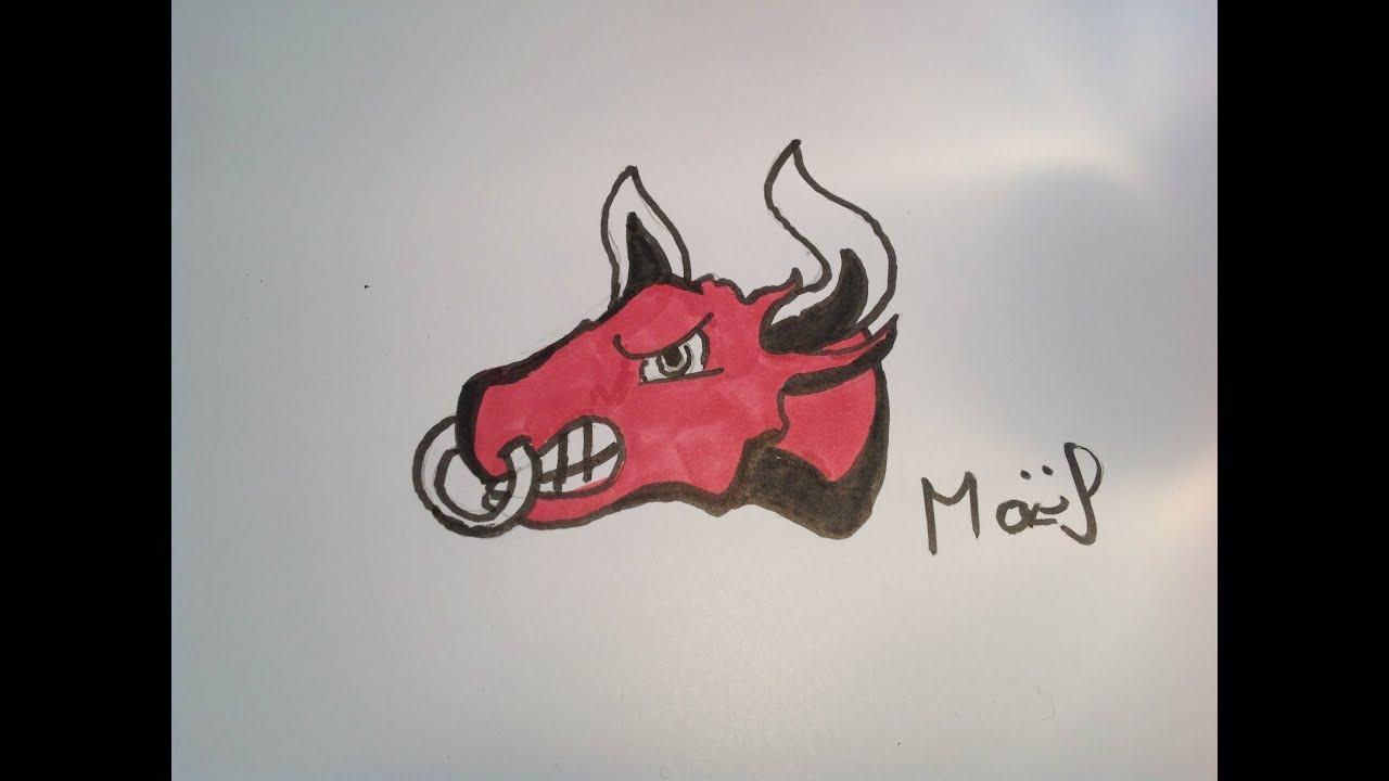 dessin d'un taureau cartoon timelapse - YouTube
