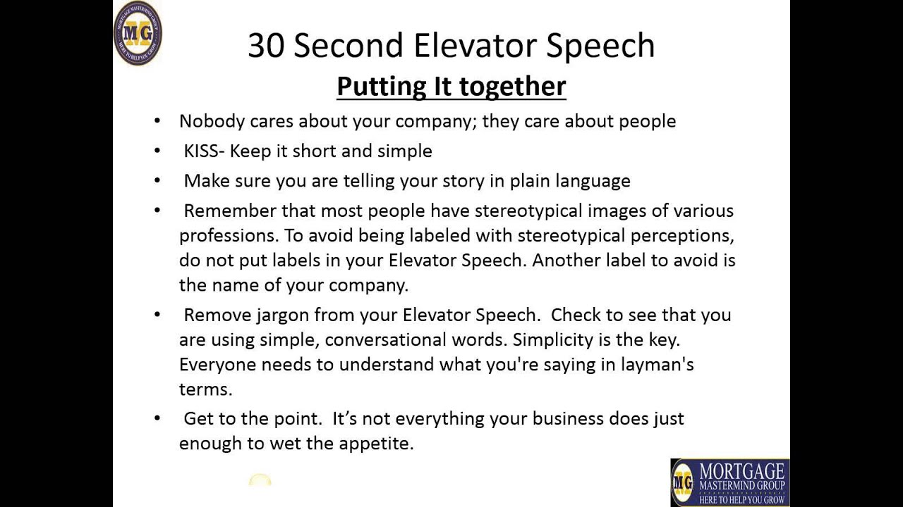 30 second pitch template - delivering a 30 second elevator speech youtube