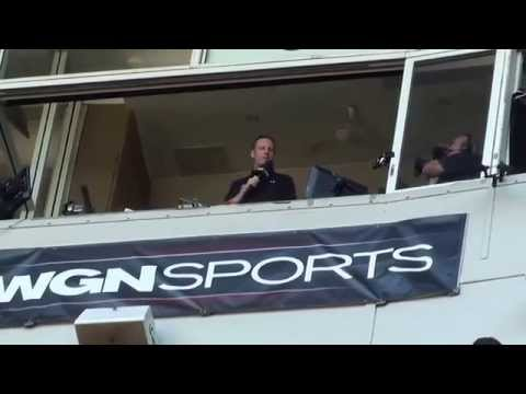 "Cubs Broadcaster Len Kasper Sings ""Take me out to the Ballgame"" @ Wrigley Field @CubsHawks"
