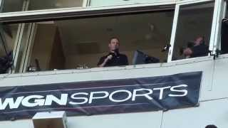 Len Kasper perform the seventh inning stretch @ Wrigley Field