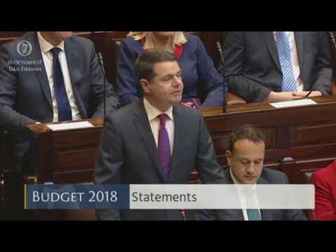 Minister for Finance Pashcal Donohoe's opening statement - Budget 2018