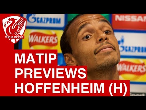 Joel Matip talks to the media ahead of Liverpool vs. Hoffenheim