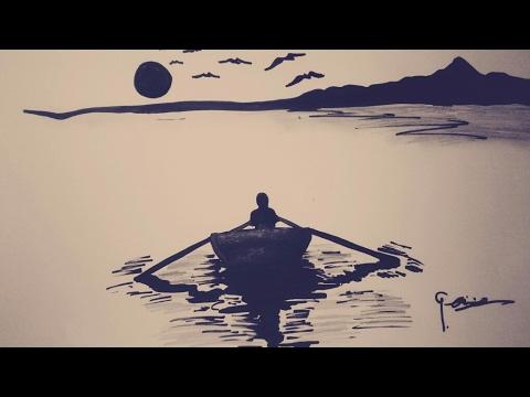 Basit,Siyah keçeli kalem manzara çizimi Simple, black felt pencil landscape drawing