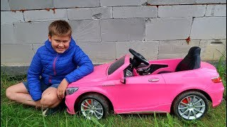 Funny Baby Unboxing And Assembling The POWER Wheel Ride on Pink Mercedes Benz AMG