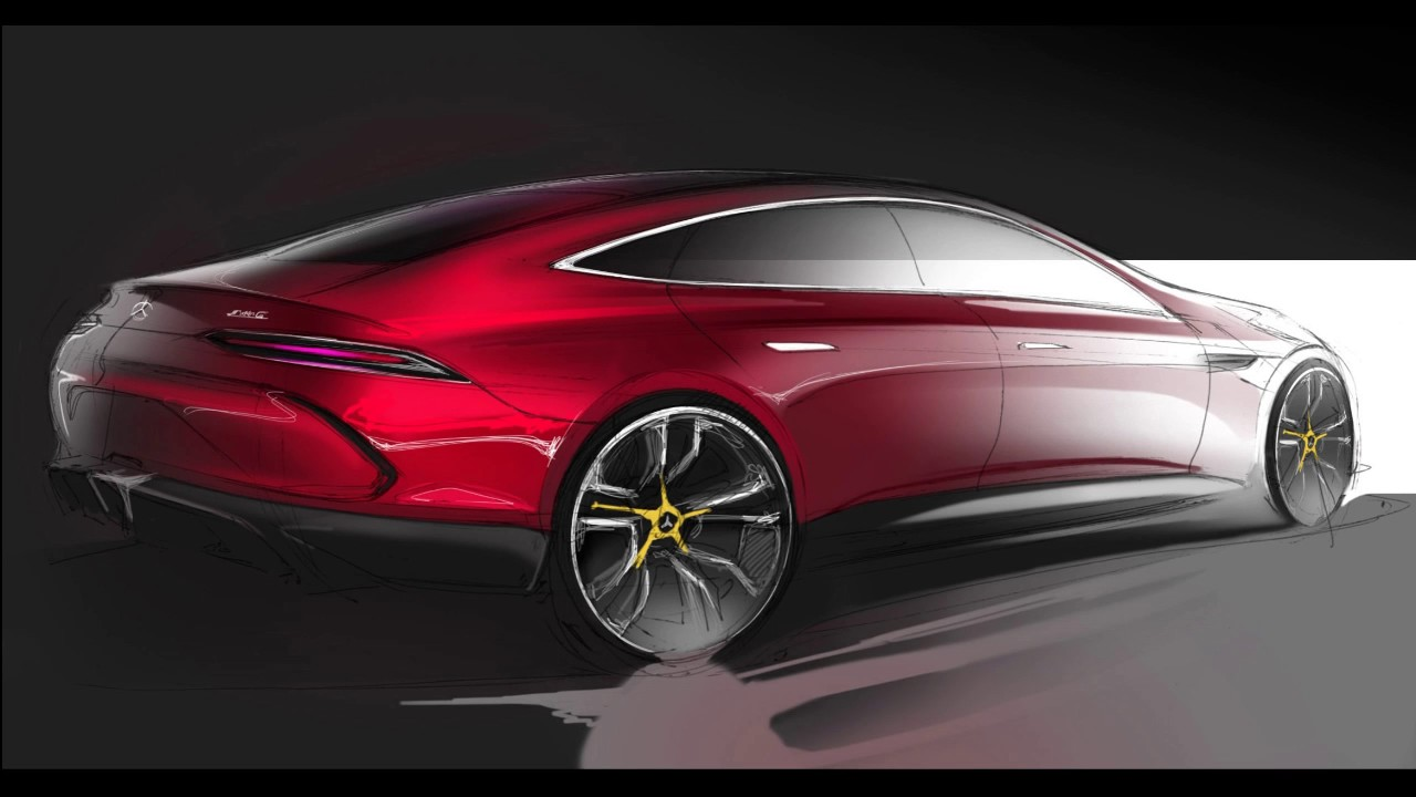 Car Design Sketch & Drawing - Mercedes Benz AMG GT Concept ...