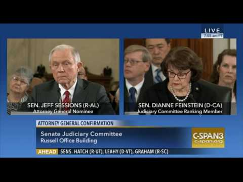 Sen Diane FeinStein and Sen Jeff Sessions AG Confirmation Hearing Exchange