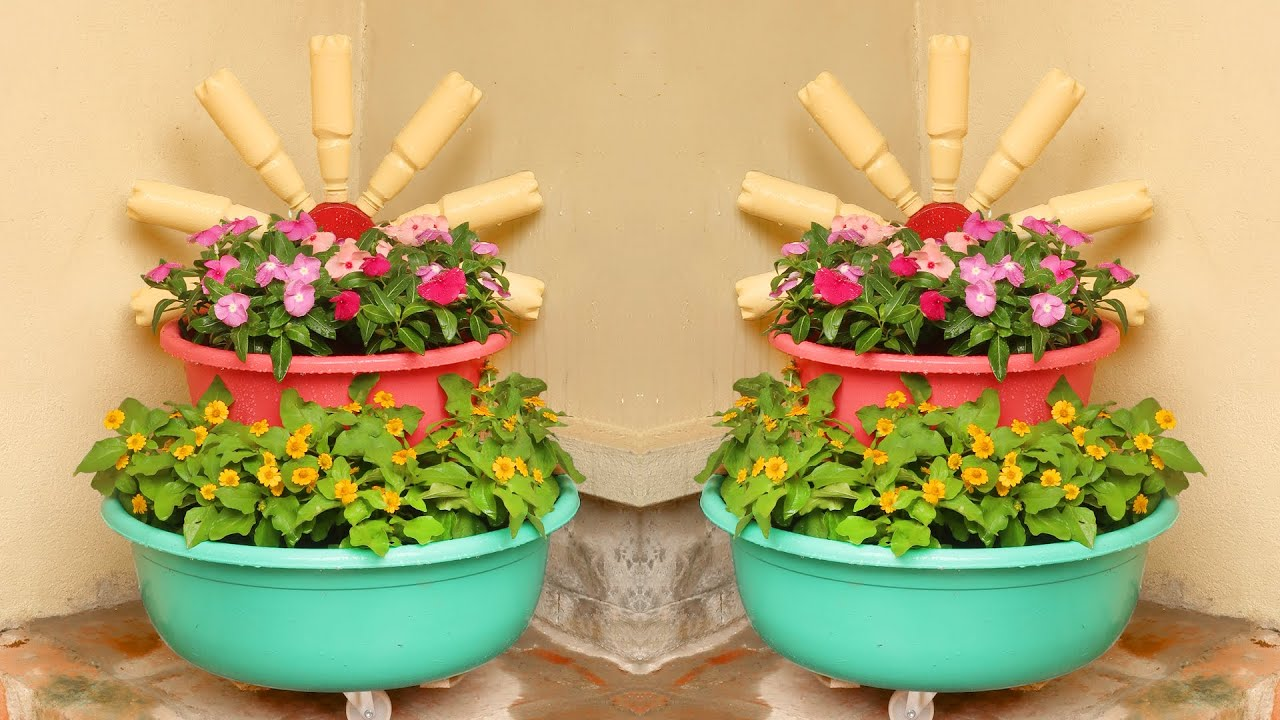 Brilliant ideas, Recycling Plastic Wash Basin into Flower Tower Pots