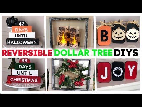 $5 Dollar Tree Diy Challenge | Dollar Tree Christmas Diy 2019 | Reversible Fall To Christmas Signs