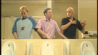 Men can multi task - Three men in a toilet (HD)