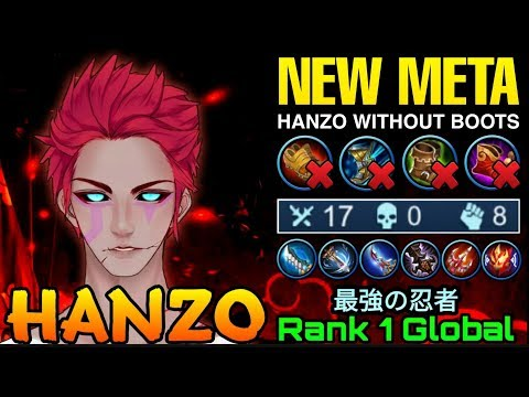 NEW META Hanzo Without Boots - Top 1 Global Hanzo 最強の忍者 - Mobile Legends