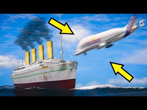 GTA 5 Britannic Sinking (Plane Crash Into HMHS Britannic Movie) Emergency Landing Plane