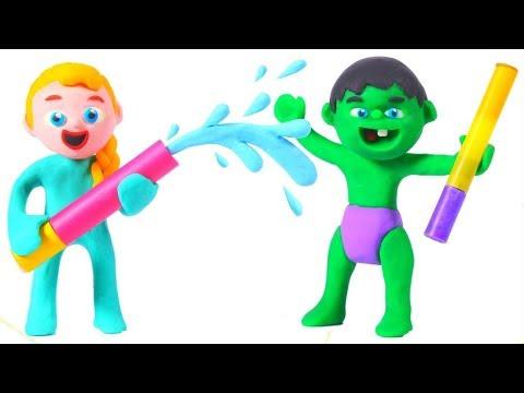 SUPERHERO BABIES PLAY WITH WATER ❤ Superhero Babies Play Doh Cartoons For Kids