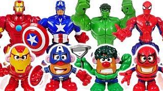 Marvel Avengers Hulk, Spider Man! Transformed into Mr. Potato Head! Defeat dinosaur! #DuDuPopTOY