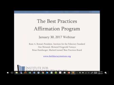 Best Practices Affirmation Program Webinar February 2017