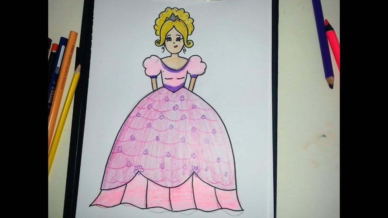 Prenses çizimi Kız çizimi Elbise çizimi Youtube