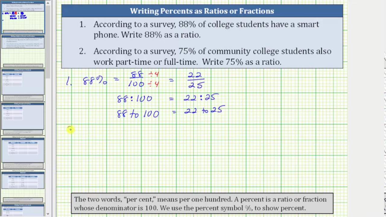 Convert A Percent To Ratio Or Fraction 88 And 75