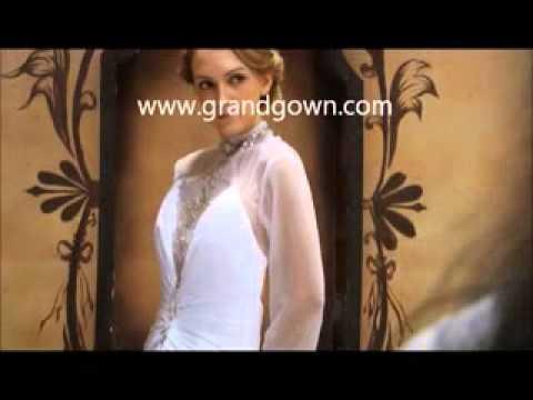 Classic High Long Neck White Wedding Dress of Grandgown.com