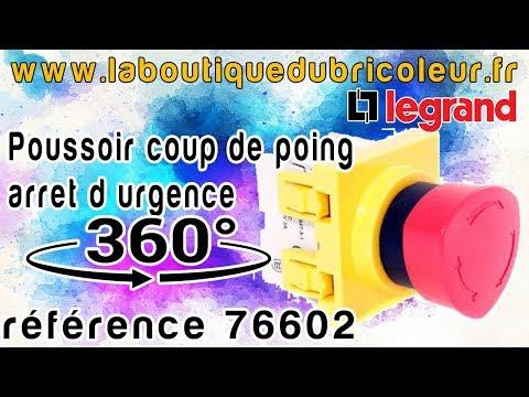 Poussoir coup de poing arret urgence gamme mosaic ref 76602 par www.laboutiquedubricoleur.fr