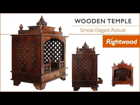 Wooden temple / Poojaghar / Mandir for home crafted in solid sheesham wood by Rightwood