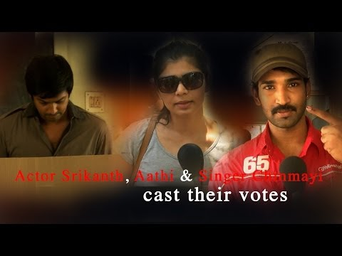 Actor Srikanth, Aathi & Singer Chinmayi cast their votes - RedPix 24x7   Music Details:  Hydra Artist : Huma-Huma Album: YouTube Audio Library  http://www.ndtv.com BBC Tamil: http://www.bbc.co.uk/tamil INDIAGLITZ :http://www.indiaglitz.com/channels/tamil/default.asp  ONE INDIA: http://tamil.oneindia.in BEHINDWOODS :http://behindwoods.com VIKATAN http://www.vikatan.com the HINDU: http://tamil.thehindu.com DINAMALAR: www.dinamalar.com MAALAIMALAR http://www.maalaimalar.com/StoryListing/StoryListing.aspx?NavId=18&NavsId=1 TIMESOFINDIA http://timesofindia.indiatimes.com http://www.timesnow.tv HEADLINES TODAY: http://headlinestoday.intoday.in PUTHIYATHALAIMURAI http://www.puthiyathalaimurai.tv VIJAY TV:http://www.youtube.com/user/STARVIJAY  -~-~~-~~~-~~-~- Please watch: